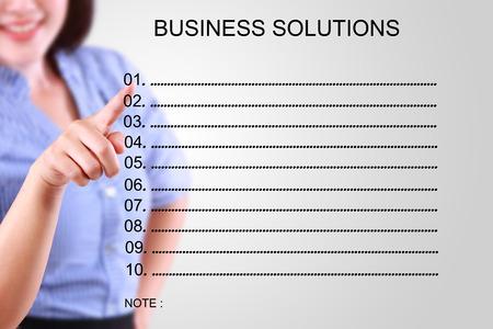 collate: businessman designate blank solution list Stock Photo