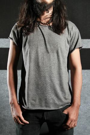 t shirt tshirt: t-shirt template, grey color Stock Photo