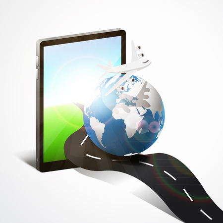 modern technology internet for traveling around the world by a tablet phone Vector