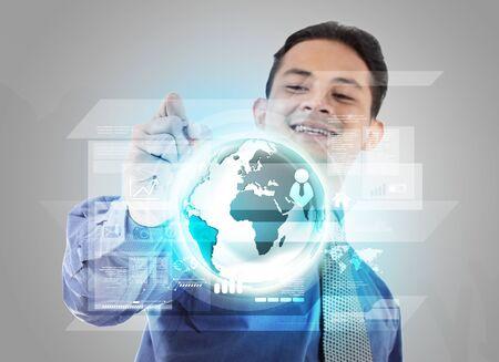 virtual technology: attractive of businessman touching modern virtual technology