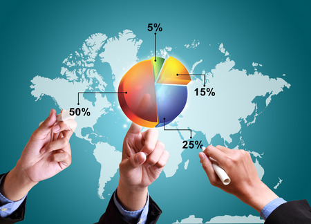 business communication: hands pushing strategy with pie chart diagram structure worldwide