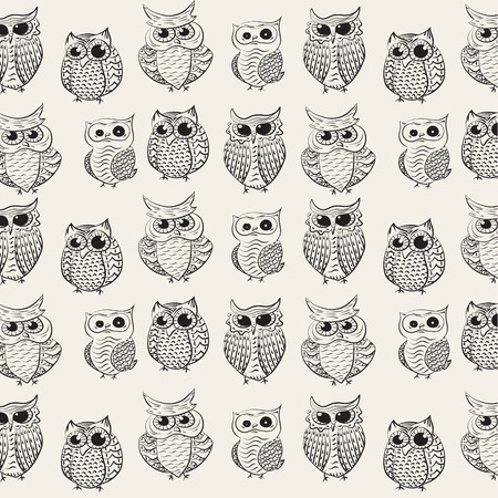 animal vector: owl pattern background