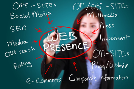 website words: business woman writing web presence Stock Photo