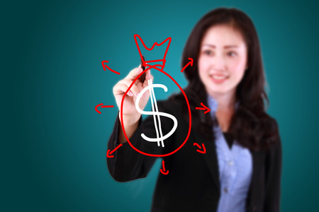 business woman drawing finance Standard-Bild