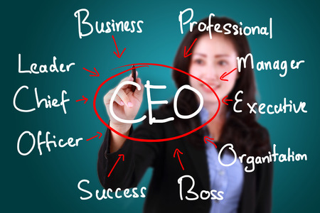 business woman drawing CEO Stock Photo