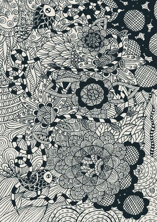 doddle: floral background with doddle concept
