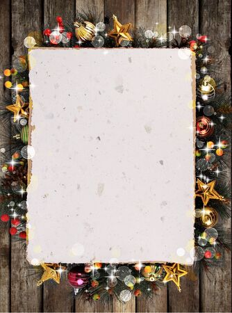 wooden frame: Christmas background