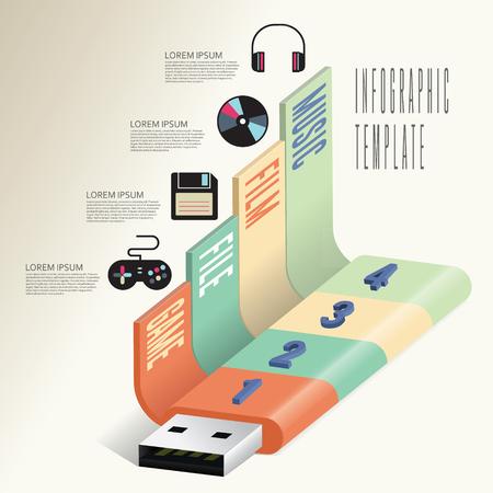 flashdisk: business multimedia infographic. with flashdisk usb icon