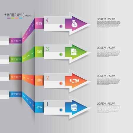 elementos: financiación de las empresas Ilustración Info gráficos del estilo de Origami