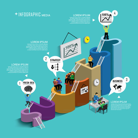 success concept: Success in business with isometric concept