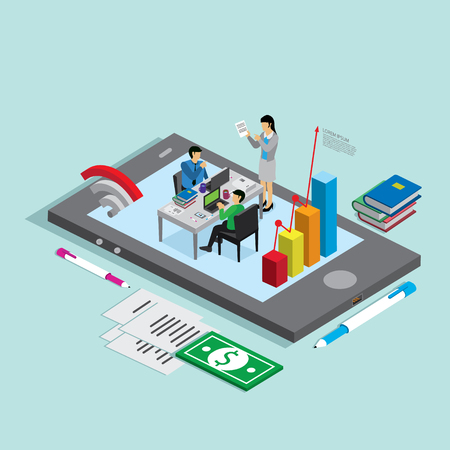 business phone: business technology mobile phone for business people. isometric concept