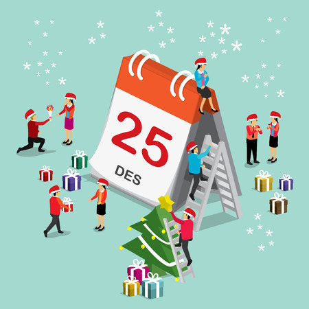 Christmas day international calendar. isometric concept