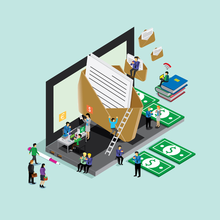 world wide: business technology for email world wide. isometric concept