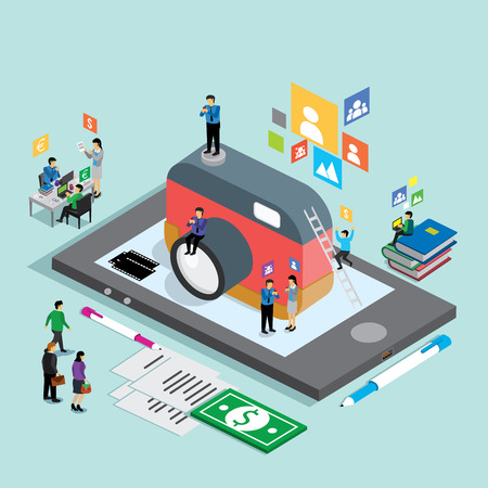 camera phone: business technology mobile phone for camera. isometric concept