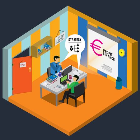 success concept: business success with isometric concept Illustration
