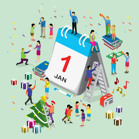 New year day international calendar. isometric concept Illustration