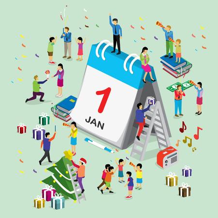new day: New year day international calendar. isometric concept Illustration