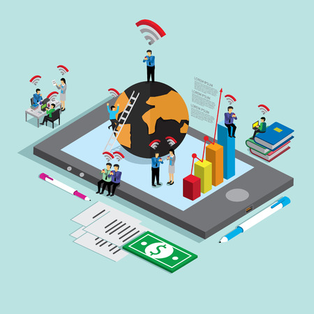 world wide: business technology mobile phone for internet world wide. isometric concept