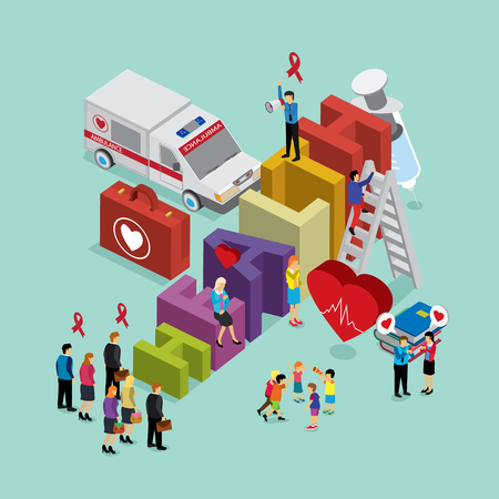 case: health care with isometric concept Illustration