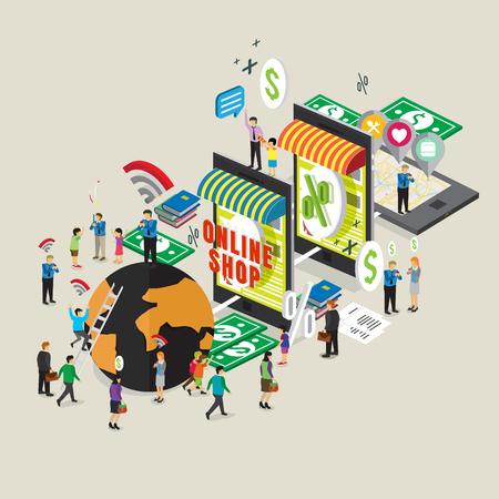 teléfono móvil de tecnología de negocios para la tienda en línea de comercio electrónico Ilustración de vector