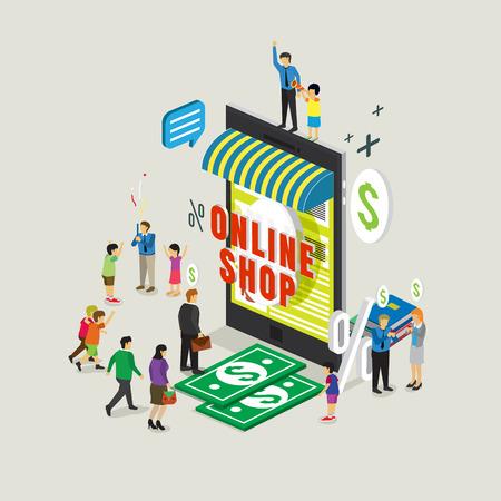 finance department: business technology mobile phone for online shop e-commerce Illustration
