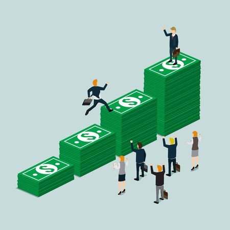 credit card business woman: business finance growth of money isometric concept