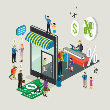 finance department: business technology mobile phone for on line shop e-commerce Illustration