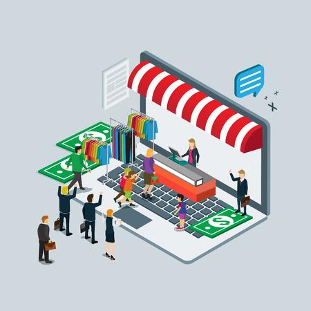 La tecnología de negocios para la línea tienda de comercio electrónico Ilustración de vector