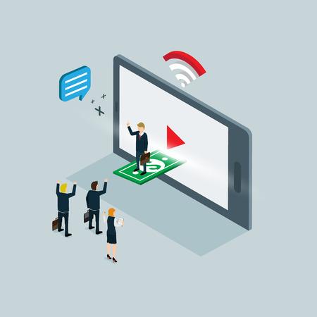 digital illustration: video internet marketing isometric concept Illustration