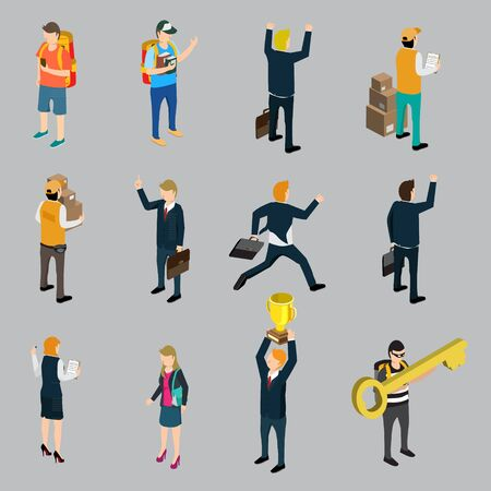 group of workers: Set of woman and man isometric Illustration