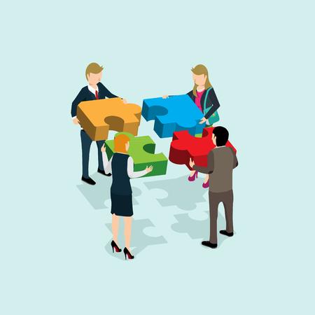 solución de equipo de negocios en concepto de asociación 3d isométrica plana web