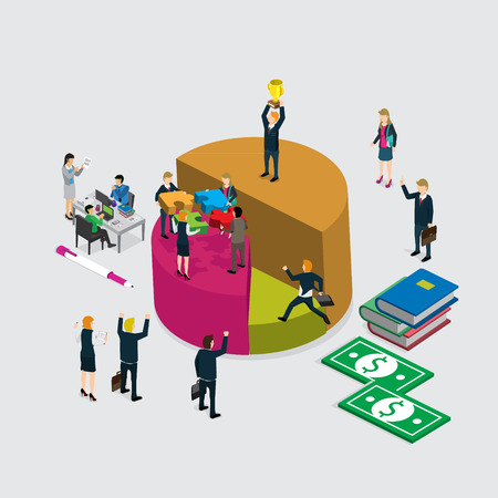 Efficient and inefficient workers on pie chart parts 3d isometric business concept