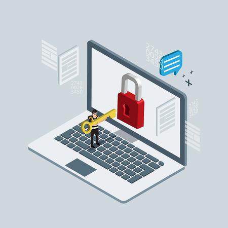 Hacker breaks into computer. Isometric 3d illustrations
