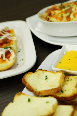 buttered: buttered toast with cheese for appetizers food Stock Photo