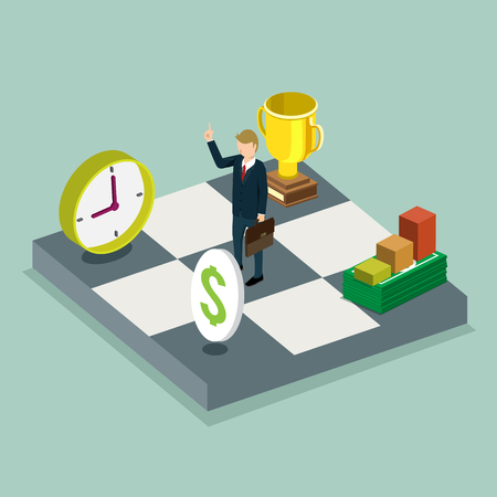 submitting: business man submitting strategy of success isometric concept Illustration