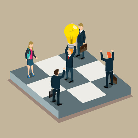business work: success in business work isometric concept