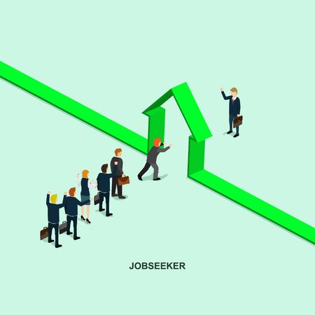 seeker: Success in business job seeker flat 3d web isometric info graphic vector Illustration