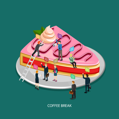 coffee and cake: business coffee break time with cake icon and isometric