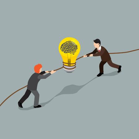 conquest: business man conquest about idea creative isometric concept