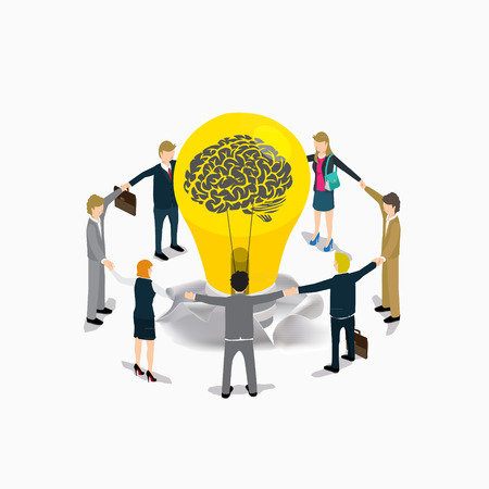 business idea: business people idea creative isometric concept