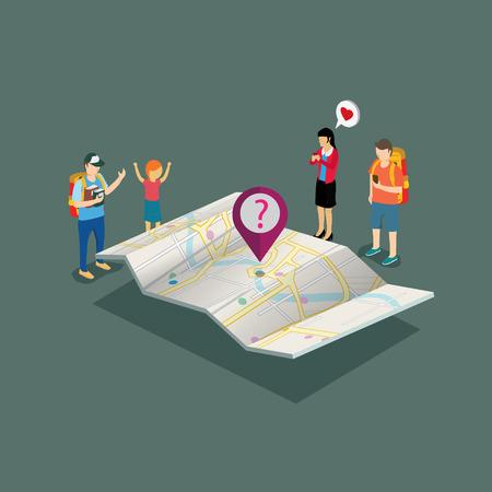 tourists: tourist need a map isometric concept
