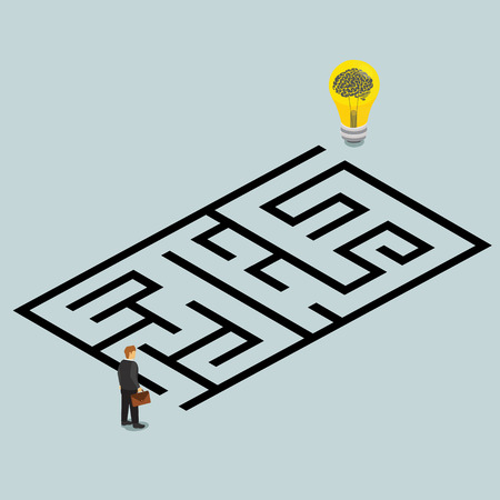 strategies: business idea and solution in a maze isometric concept