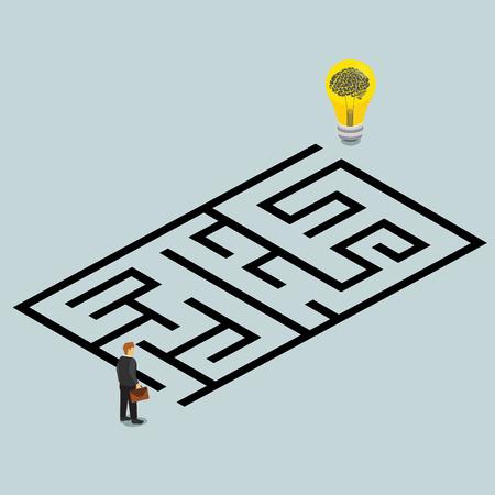 plataforma: idea de negocio y la solución en un concepto isométrica laberinto