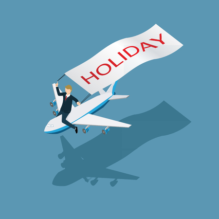 people travelling: business man travelling with people and plane icon isometric concept Illustration