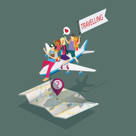 people travelling: people man travelling with people and plane icon isometric concept