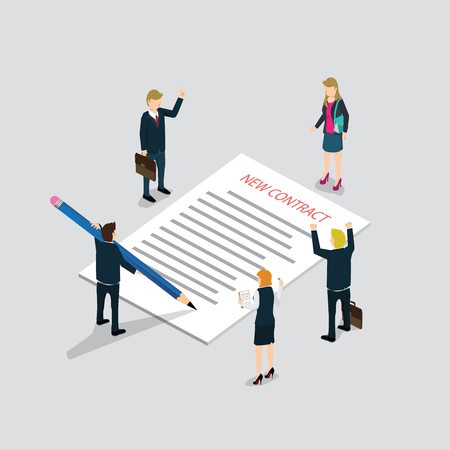 Flat 3d web isometric contract signature and casual micro people infographic concept vector