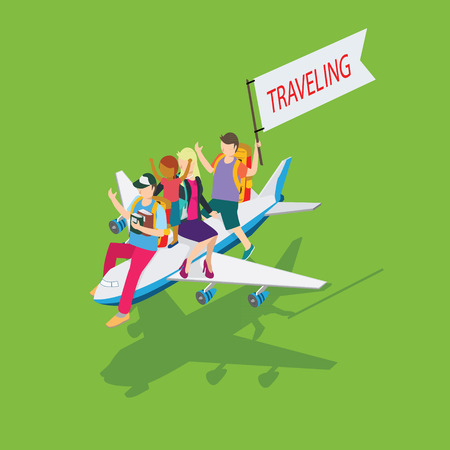 people travelling: people travelling with people and plane icon isometric concept