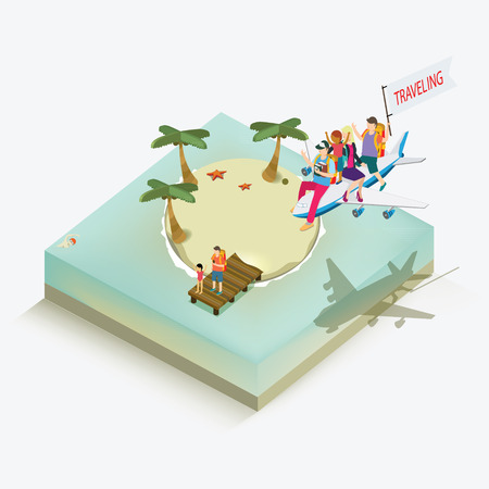 unrecognizable person: summer holiday isometric concept Illustration