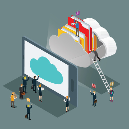 computer: cloud computing technology business isometric concept Illustration