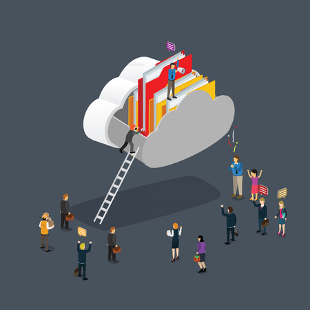 cloud computing technology business isometric concept Illustration